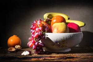 Photo Still-life Bananas Apples Orange fruit Grapes Fruit Drops Bowl Food