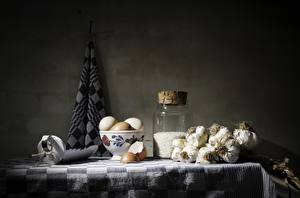 Bilder Stillleben Knoblauch Reis Eier Weckglas das Essen