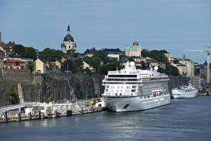 Picture Stockholm Sweden Marinas Ship Cruise liner Cities