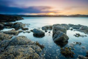 Hintergrundbilder Steine Küste Sonnenaufgänge und Sonnenuntergänge Schottland Kildonan Natur