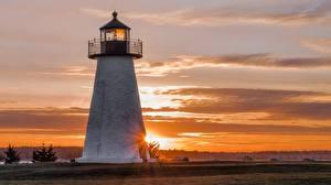 Bilder Sonnenaufgänge und Sonnenuntergänge Leuchtturm USA Massachusetts, Mattapoisett, Shell Beach
