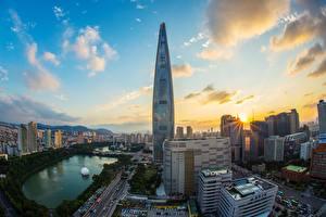 Hintergrundbilder Morgendämmerung und Sonnenuntergang Südkorea Wolkenkratzer Seoul Lotte World Tower Städte