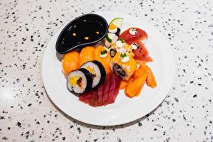 Fotos Sushi Reis Teller Geschnittenes Sojasauce Lebensmittel