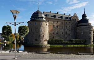 Fotos Schweden Burg Teich Straßenlaterne Orebro Castle Städte
