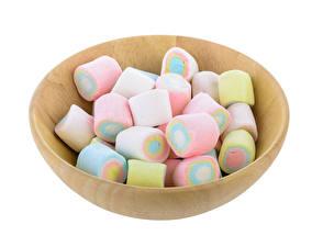 Fotos Süßware Weißer hintergrund Marshmallow Schüssel Lebensmittel