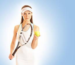 Bilder Tennis Farbigen hintergrund Ball sportliches Mädchens