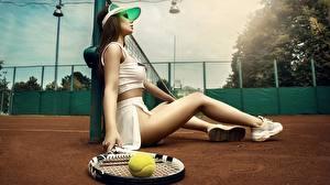 Hintergrundbilder Tennis Schön Sitzt Bein Ball Kristina Fedorova, Vadim Aksyonov Mädchens