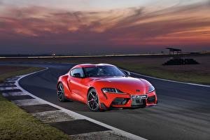 Hintergrundbilder Toyota Rot Metallisch 2019 GR Supra Autos