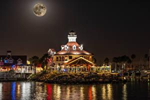 Images USA Building Marinas California Bay Night time Moon Shoreline Village in Long Beach Cities