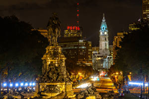 Wallpapers USA Houses Monuments Night time Street lights Philadelphia Cities