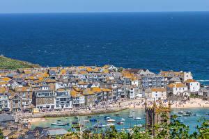 Fotos Vereinigtes Königreich Küste Gebäude Bootssteg England Bucht Cornwall Städte