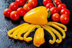 Fotos Gemüse Tomate Paprika Stück Lebensmittel
