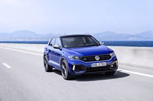 Bureaubladachtergronden Volkswagen Snelheid Blauw kleur Metallic 2020 T-Roc Auto