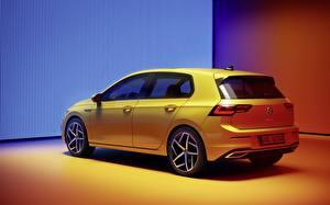 Bureaubladachtergronden Volkswagen Geel kleur Metallic Golf R-Line 2020