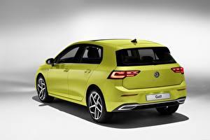 桌面壁纸,,大众汽车,後視圖,黃綠色,金屬漆,Golf hatchback 2020,汽车