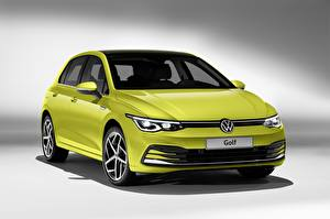 Bureaubladachtergronden Volkswagen Metallic Geel groen Golf hatchback 2020 Auto