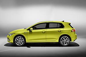 桌面壁纸,,大众汽车,側視圖,黃綠色,金屬漆,Golf hatchback 2020,汽车