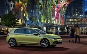 Bureaubladachtergronden Volkswagen Zijaanzicht Golf hatchback R-Line 2020