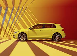 Bureaubladachtergronden Volkswagen Zijaanzicht Geel kleur Golf hatchback R-Line 2020 auto's