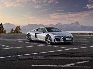 桌面壁纸,,奥迪,灰色,金屬漆,停車,Audi R8 V10 2020 RWD,汽车