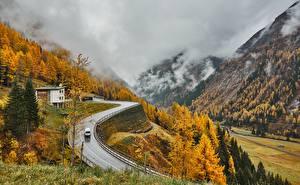 Pictures Austria Mountain Autumn Roads Alps Fog East Tyrol Nature