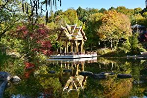 Fotos Herbst Teich Stein Pagoden Parks München Deutschland Bayern Westpark Städte
