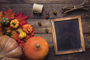 Fotos Herbst Kürbisse Bretter Vorlage Grußkarte Blattwerk Ast Natur