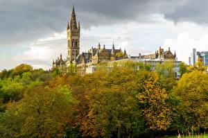 Tapety na pulpit Jesienne Szkocja Wieże Drzewa University Glasgow Miasta