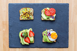 Picture Butterbrot Bread Strawberry Avocado Fried egg