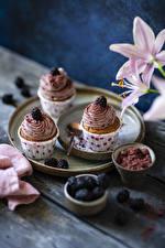 Bilder Törtchen Brombeeren Cupcake Bretter Drei 3