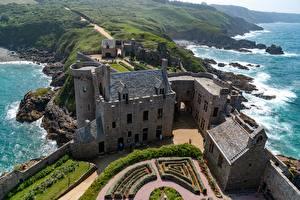 Bilder Burg Frankreich Von oben Fort-la-Latte, Brittany, Bay of Saint-Malo