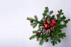 Fotos Neujahr Ast Zapfen Kugeln Schneeflocken Vorlage Grußkarte