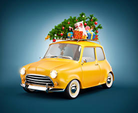 Images New year Colored background Christmas tree Gifts Cars