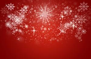 Fotos Neujahr Roter Hintergrund Schneeflocken Vorlage Grußkarte