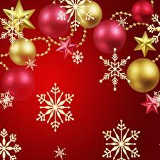 Bilder Neujahr Schneeflocken Kleine Sterne Kugeln