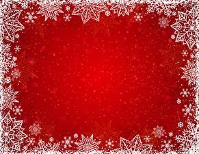 Bilder Neujahr Schneeflocken Vorlage Grußkarte Roter Hintergrund