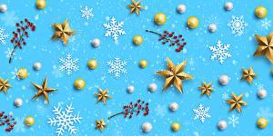 Fotos Neujahr Mehlbeeren Schneeflocken Stern-Dekoration Kugeln