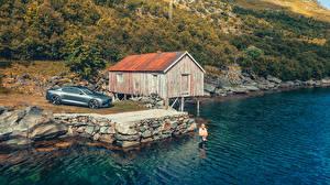 Desktop hintergrundbilder Küste Graue 2019 Polestar 1 Worldwide Autos Natur
