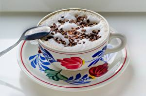Pictures Coffee Cappuccino Chocolate Spoon Foam Cup Food
