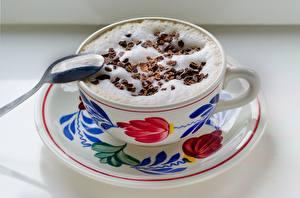 Fotos Kaffee Cappuccino Schokolade Löffel Schaum Tasse das Essen