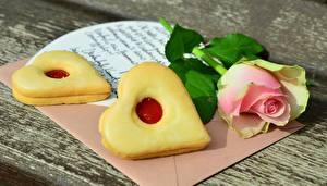 Hintergrundbilder Kekse Rose Valentinstag Herz Brief das Essen