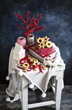 Bilder Kekse Mehlbeeren Stillleben Schachtel Ast das Essen