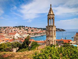 Bilder Kroatien Haus Schiffsanleger Bucht Türme Hvar
