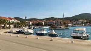 Wallpapers Croatia Houses Berth Speedboat Bay  Cities