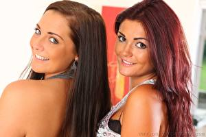 Photo Daisy Watts India Reynolds Two Brown haired Glance Smile Hair Beautiful Girls