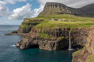 Bilder Dänemark Küste Wasserfall Felsen Bucht Faroe Islands Natur