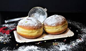 Bilder Donut Puderzucker Backware Lebensmittel