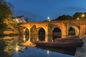 Wallpaper England Houses River Bridge Berth Boats Evening Street lights Durham city Cities