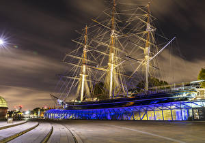 Image England Ship Sailing London Museum Night Cutty Sark Museum