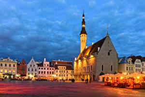 Images Estonia Tallinn Evening Houses Town square Cafe Street lights Cities